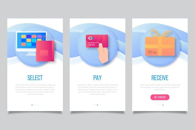 Écrans de l'application d'intégration des achats