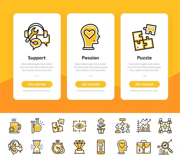 Écrans d'application d'intégration du jeu d'icônes de démarrage d'entreprise