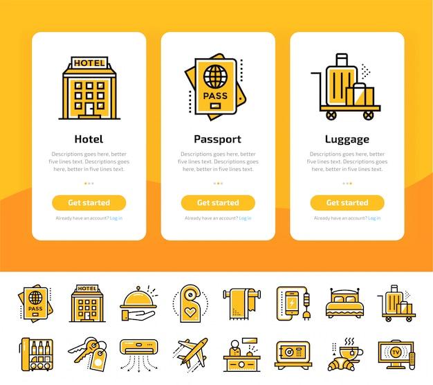 Écrans d'application d'intégration du jeu d'icônes de services hôteliers
