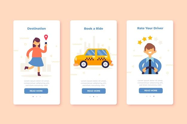 Écrans de l'application d'intégration pour le service de taxi
