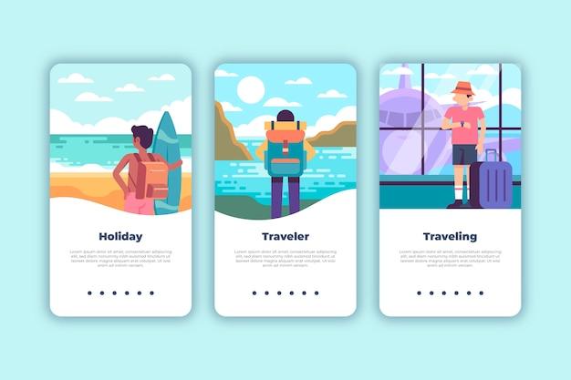 Écrans de l'application d'intégration de voyage (téléphone mobile)
