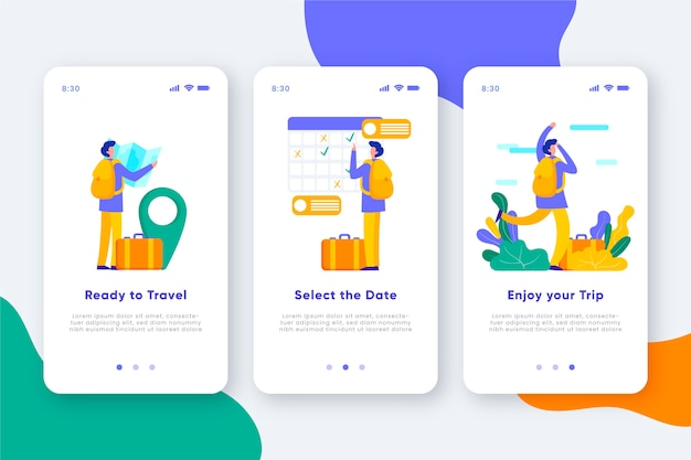 Écrans de l'application d'intégration de voyage