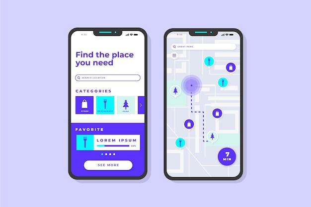 Écrans de l'application de localisation