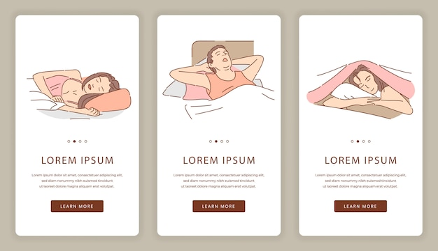 Écrans d'application mobile pour les personnes endormies. correction du sommeil, modèle de site web de beaux rêves.