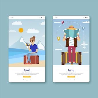 Écrans d'application mobile pour voyager et prendre des photos
