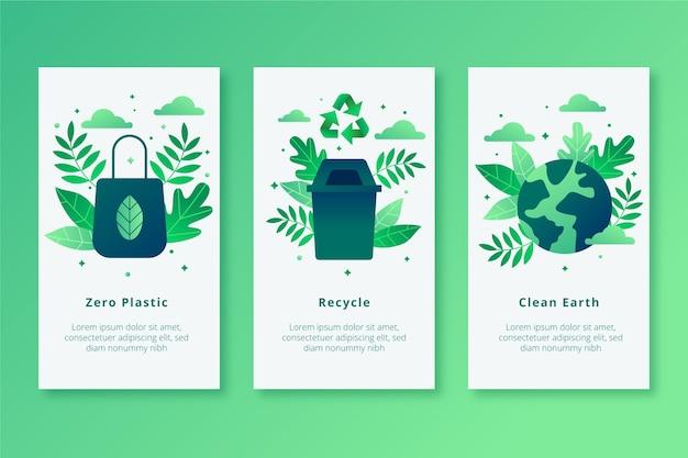 Écrans d'application mobile zero plastic earth