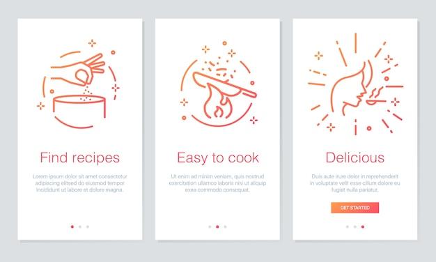 écrans d'application de nourriture et de recettes d'embarquement.