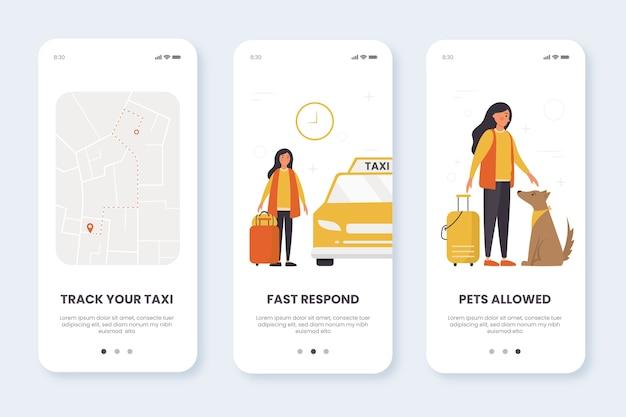 Écrans de l'application de service de taxi à bord