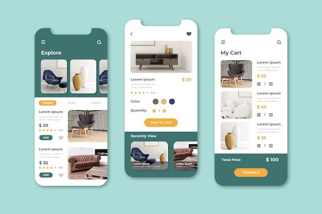 Écrans d'applications d'achat de meubles