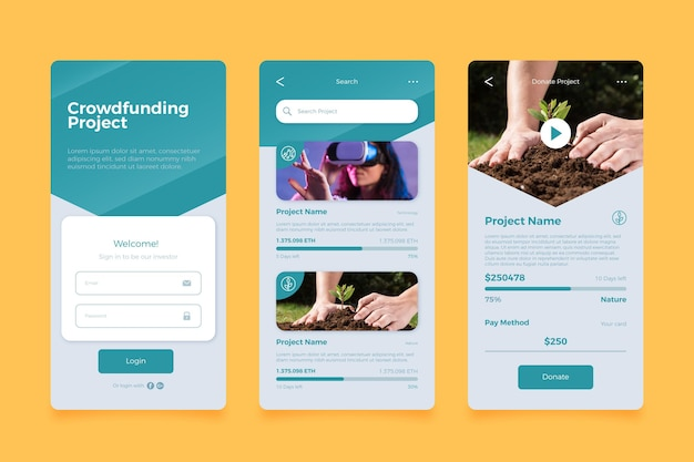 Écrans d'applications de crowdfunding