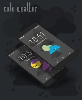 Écrans d'applications mobiles mignonnes sur des maquettes de smartphone 3d