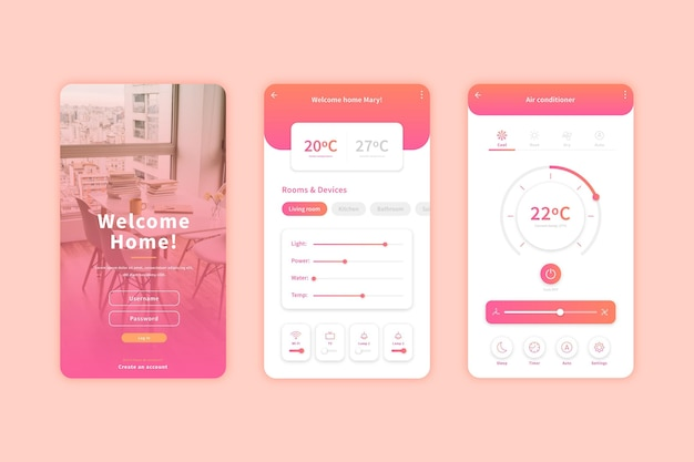 Écrans d'applications pour la maison intelligente