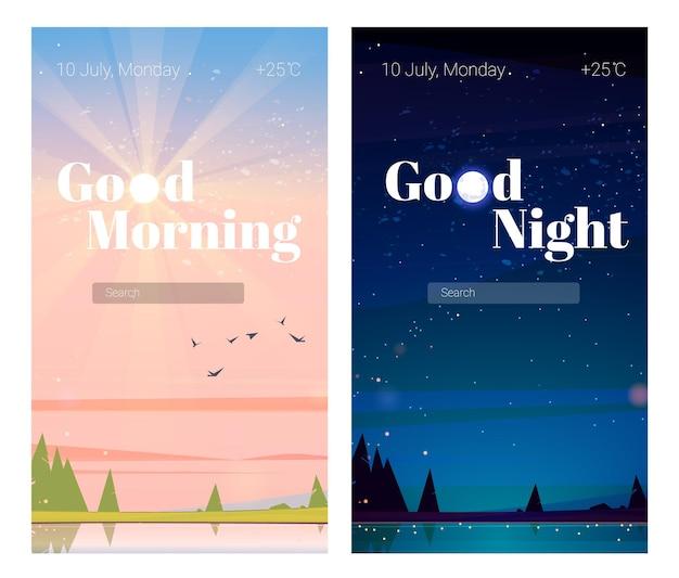Écrans de bord de téléphone portable bonne nuit et bonjour pages