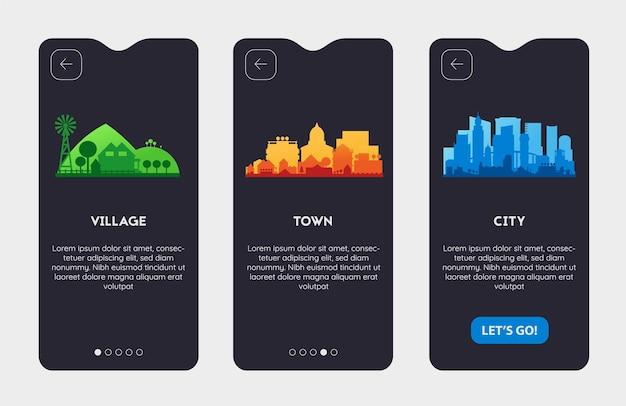Écrans de démarrage d'applications avec des illustrations de villes et de villages