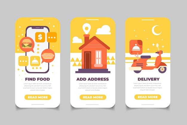Écrans d'intégration de livraison de nourriture