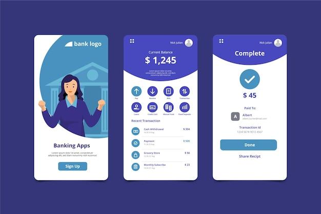 Écrans d'interface de l'application bancaire
