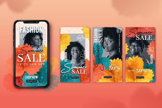 Écrans de smartphone de vente de mode