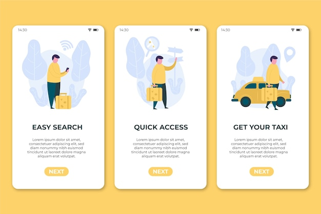 Écrans de téléphone mobile de l'application de service de taxi