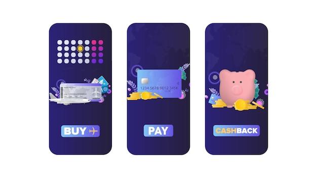 Écrans de veille pour l'application d'achat de billets d'avion, de paiement en ligne et de cashback.