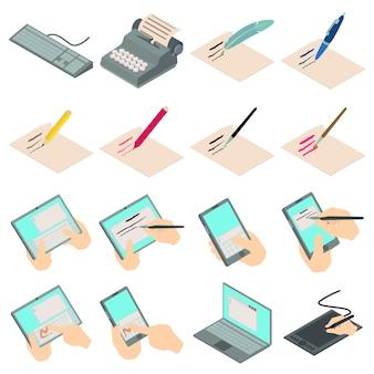 Écrire ensemble d'icônes de lettre. illustration isométrique de 16 icônes vectorielles de lettre d'écriture pour le web