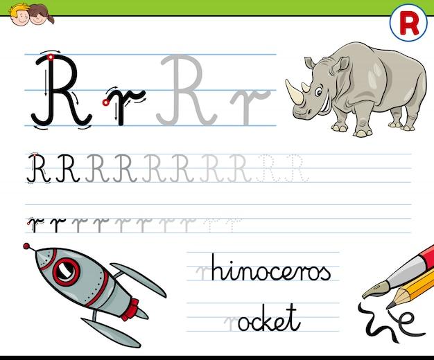 Écrire la feuille de calcul de la lettre r pour les enfants