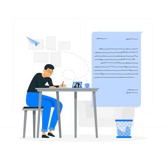 Écrire une illustration de concept de lettre