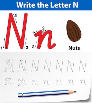 Écrire la lettre n carte anglaise