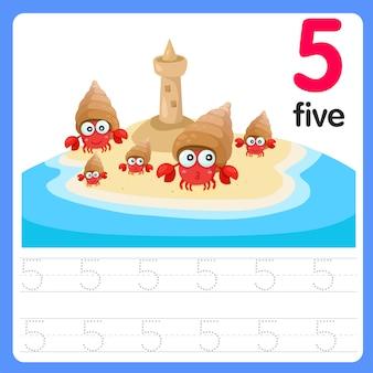 Écrire le numéro de pratique cinq sur la mer