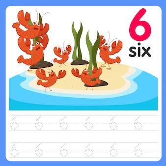 Écrire le numéro six sur la mer