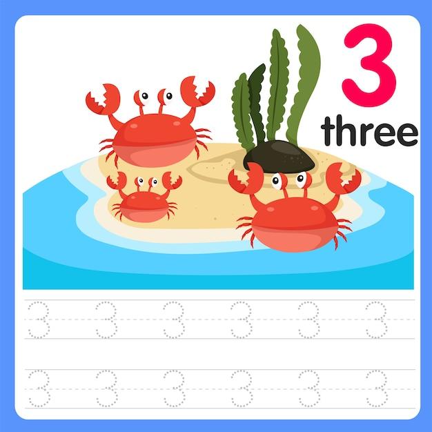 Écrire le numéro trois sur la mer