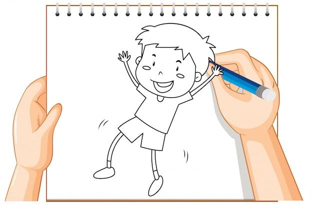 Écrit à la main du garçon dansant le contour