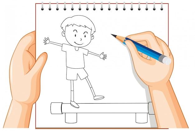 Écrit à la main du garçon debout équilibre équilibre