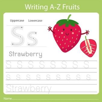 Écriture az fruits a est fraise