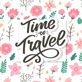 Écriture calligraphique lettrage time to travel illustration