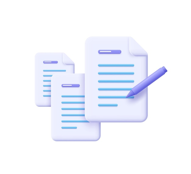 Écriture créative et narration, brève, conditions générales du contrat, document papier, concept d'affectation. illustration vectorielle 3d.