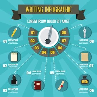 Écriture infographique, style plat
