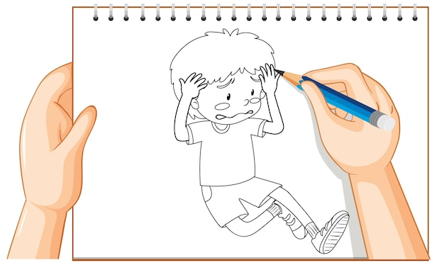 Écriture à la main du jeune garçon triste contour déçu