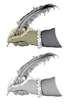 Écriture à la main avec une plume