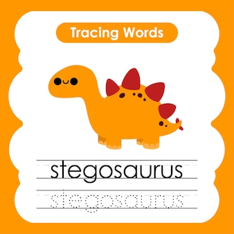 Écriture de mots de pratique alphabet traçage s stégosaure