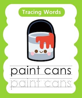 Écriture de mots pratiques alphabet traçage p - pots de peinture