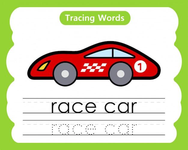 Écriture de mots pratiques: alphabet tracing r - race car
