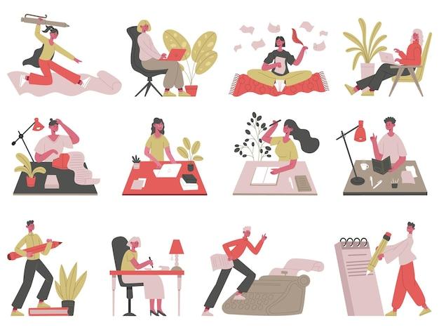 Ecriture des personnages. écrivain professionnel, journaliste, blogueur et rédacteur écrivant publiant une illustration vectorielle. conte et écriture. journaliste rédacteur, machine à écrire et rédacteur indépendant