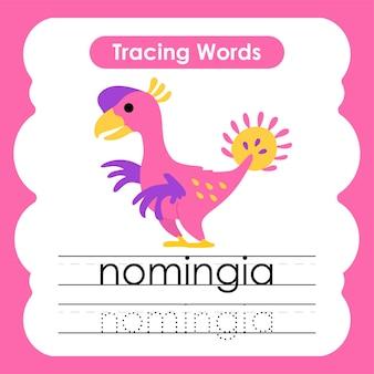 Écriture pratique mots alphabet traçage n nomingia