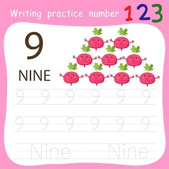 Écriture pratique numéro neuf