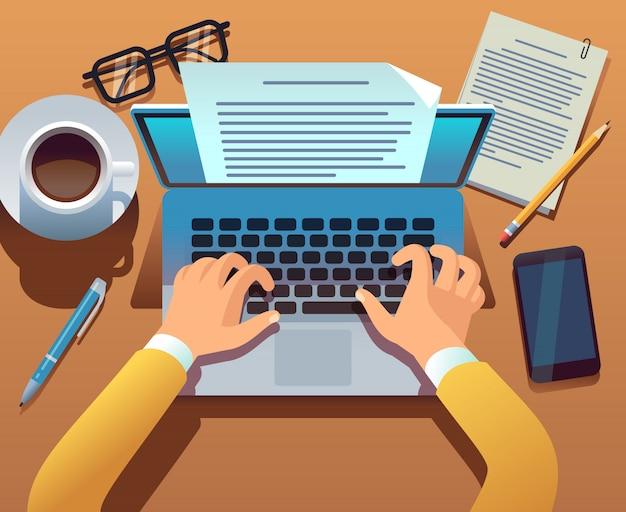L'écrivain écrit le document. un journaliste crée des histoires avec un ordinateur portable. mains tapant sur le clavier de l'ordinateur. concept d'écriture d'histoire