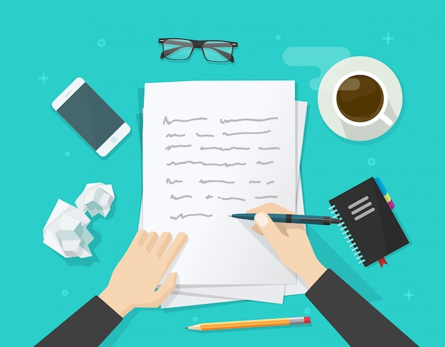 Écrivain écrit sur une feuille de papier