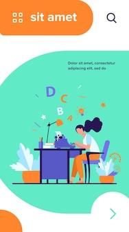 Écrivain féminin à l'aide d'une machine à écrire rétro