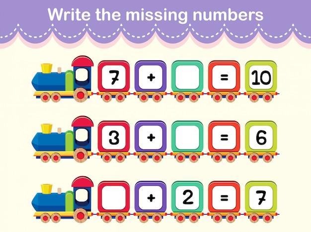 Écrivez l'affiche du train des numéros manquants