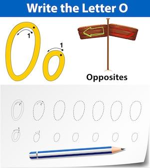Écrivez la carte anglaise lettre o