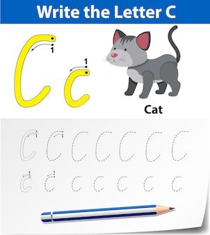 Écrivez la carte anglaise de la lettre c